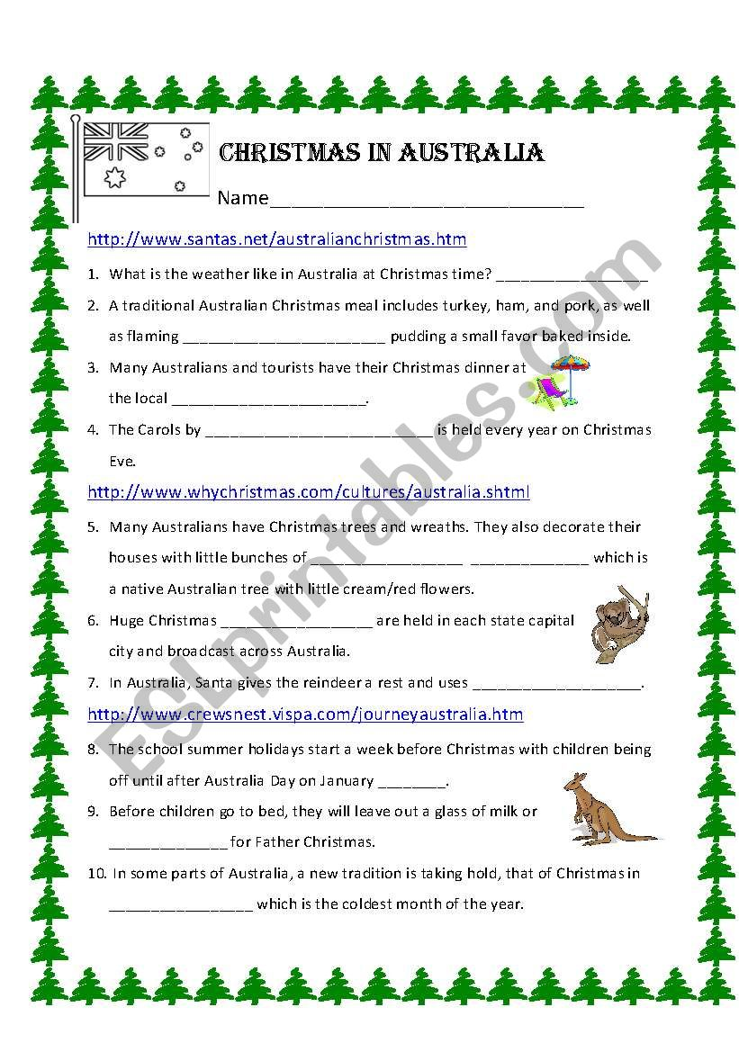 christmas in australia worksheet - What Month Is Christmas In Australia