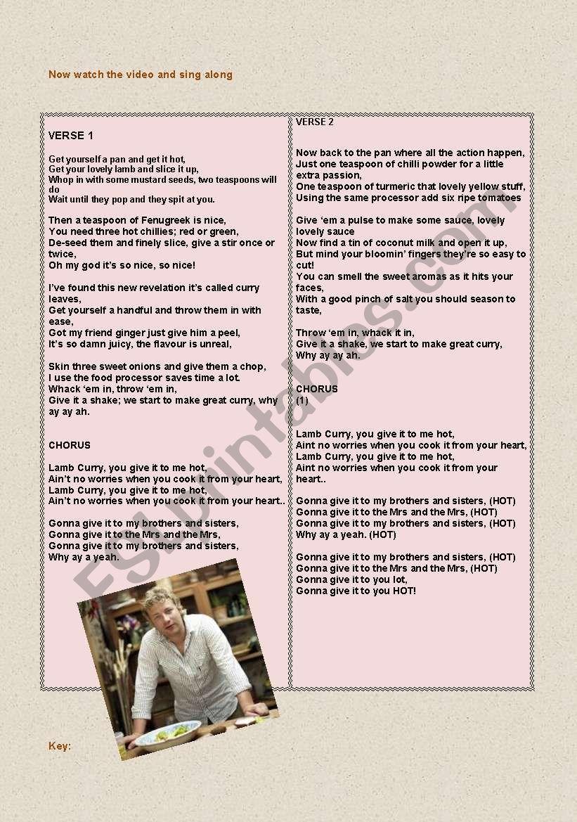 Lamb Curry Jamie Olivers Song With Lyrics Key Esl