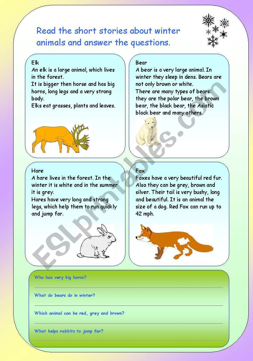 Winter animals. Reading comprehension . - ESL worksheet by englishspb