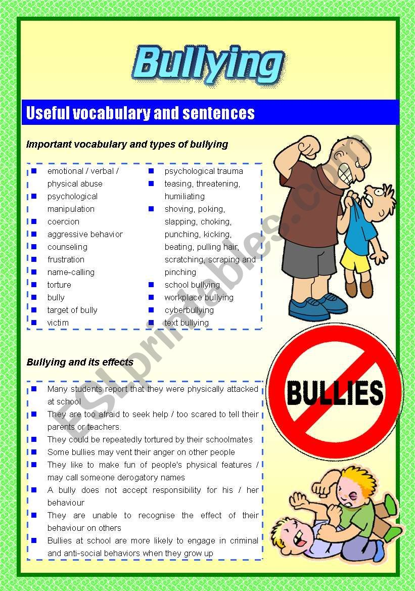 Bullying (Two pages) worksheet