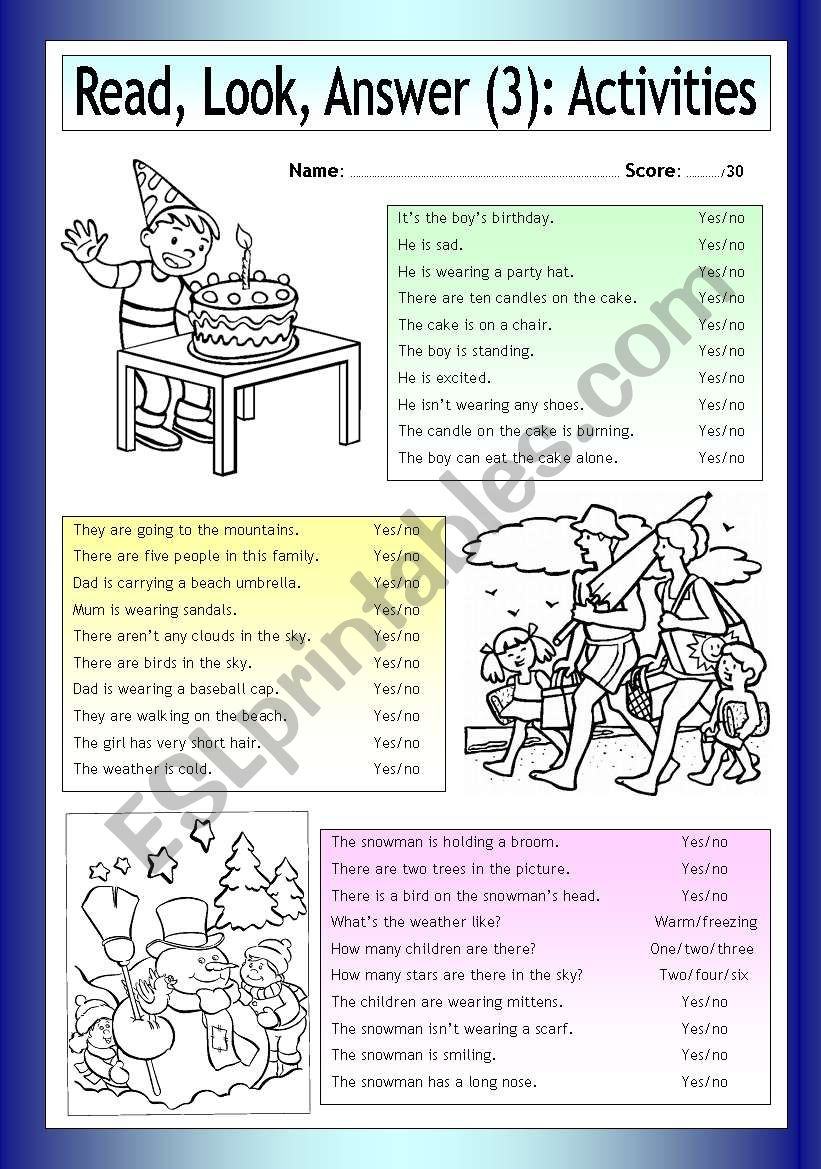 Read - Look - Answer: Activities (3)