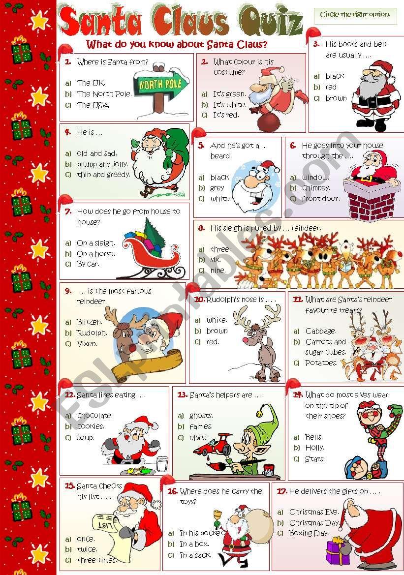 SANTA CLAUS QUIZ worksheet