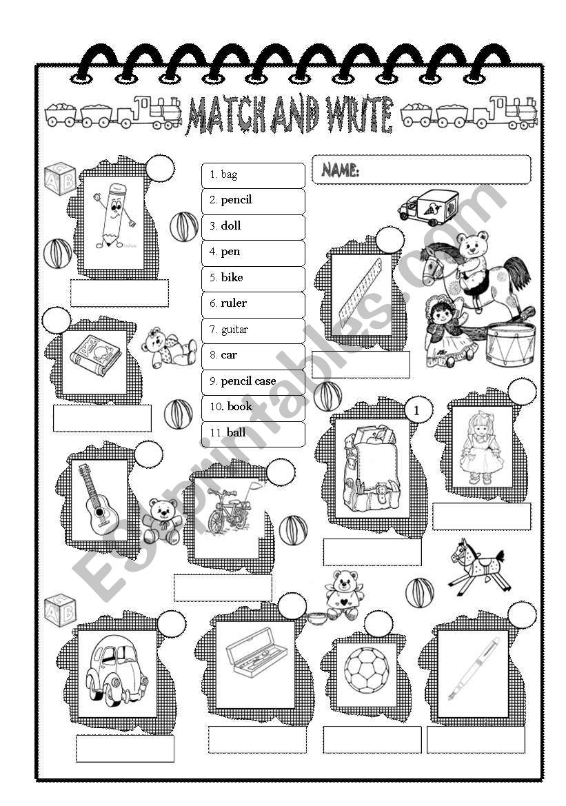 Toys and school things worksheet