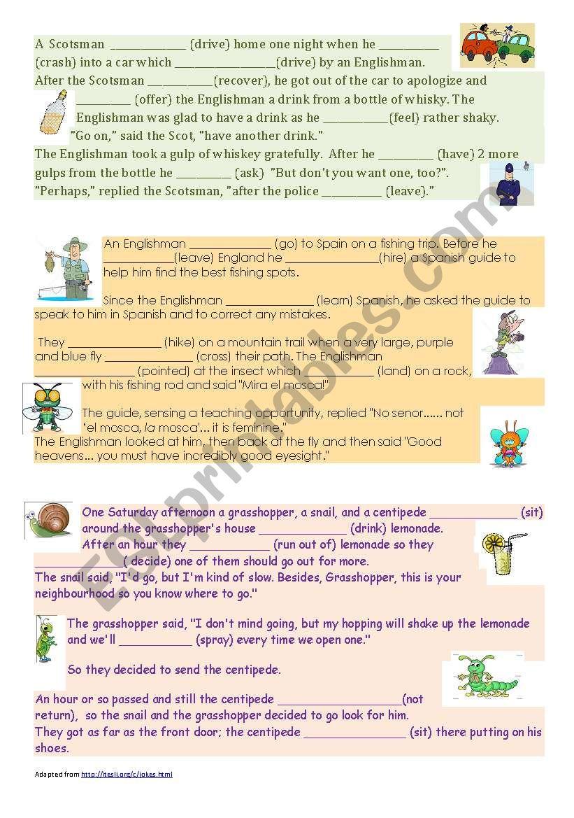 Narrative Tense Jokes worksheet