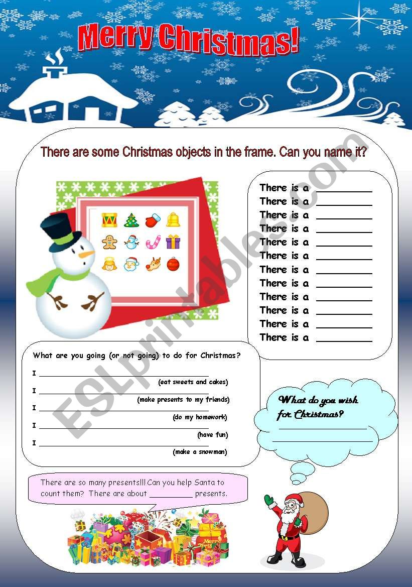 christmas vocabulary there is there are grammar esl worksheet by englishspb. Black Bedroom Furniture Sets. Home Design Ideas