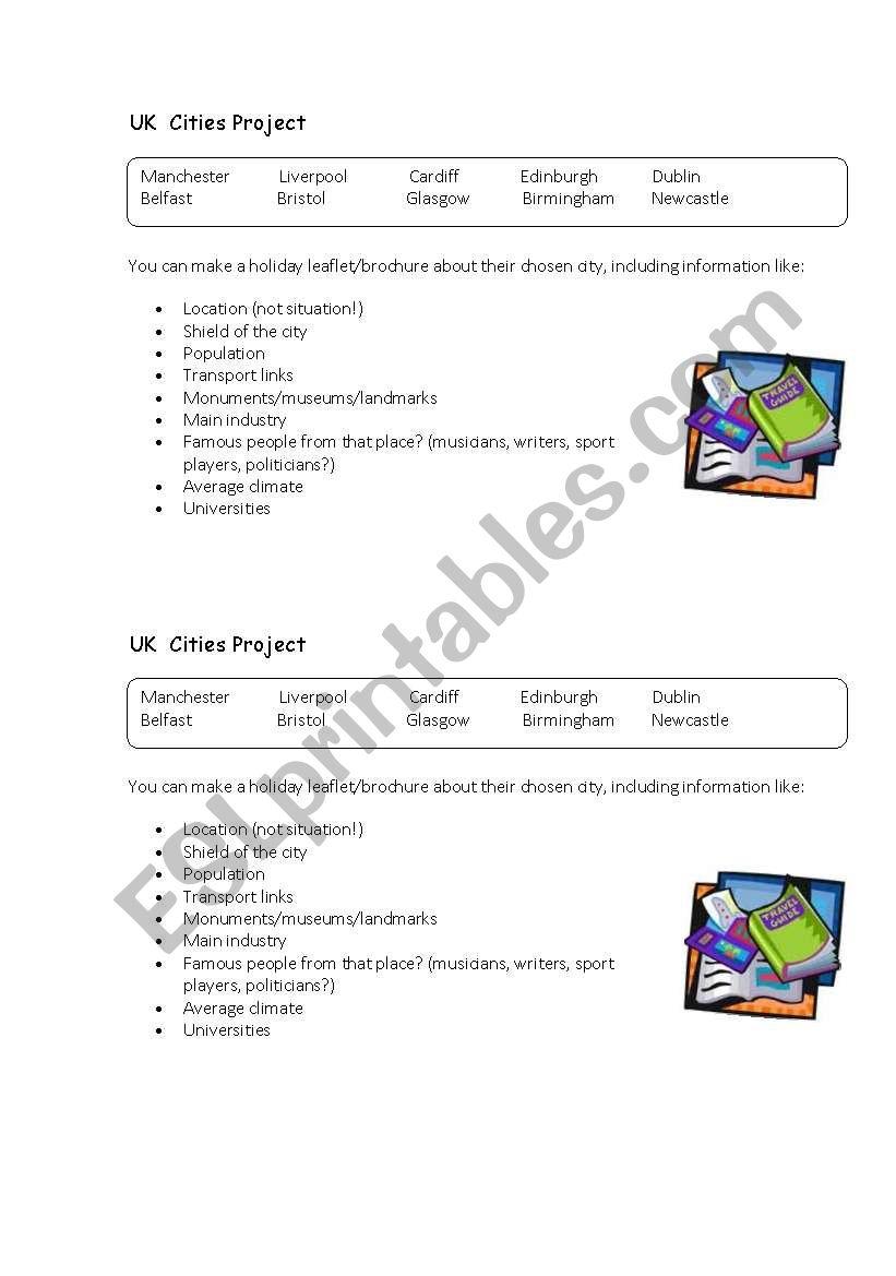 UK  Cities Project -  worksheet