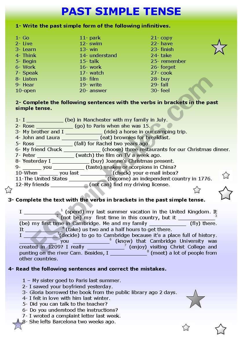 Past Simple tense revision worksheet