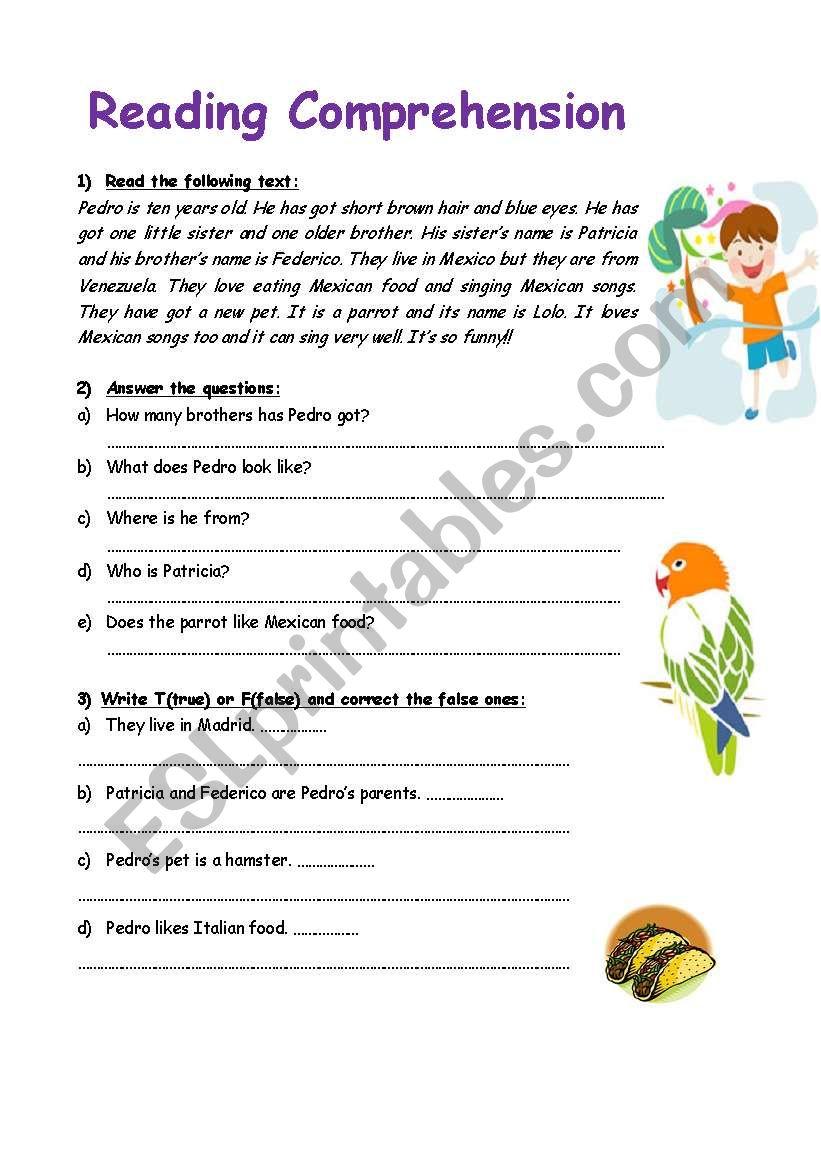 Esl worksheets reading comprehension elementary
