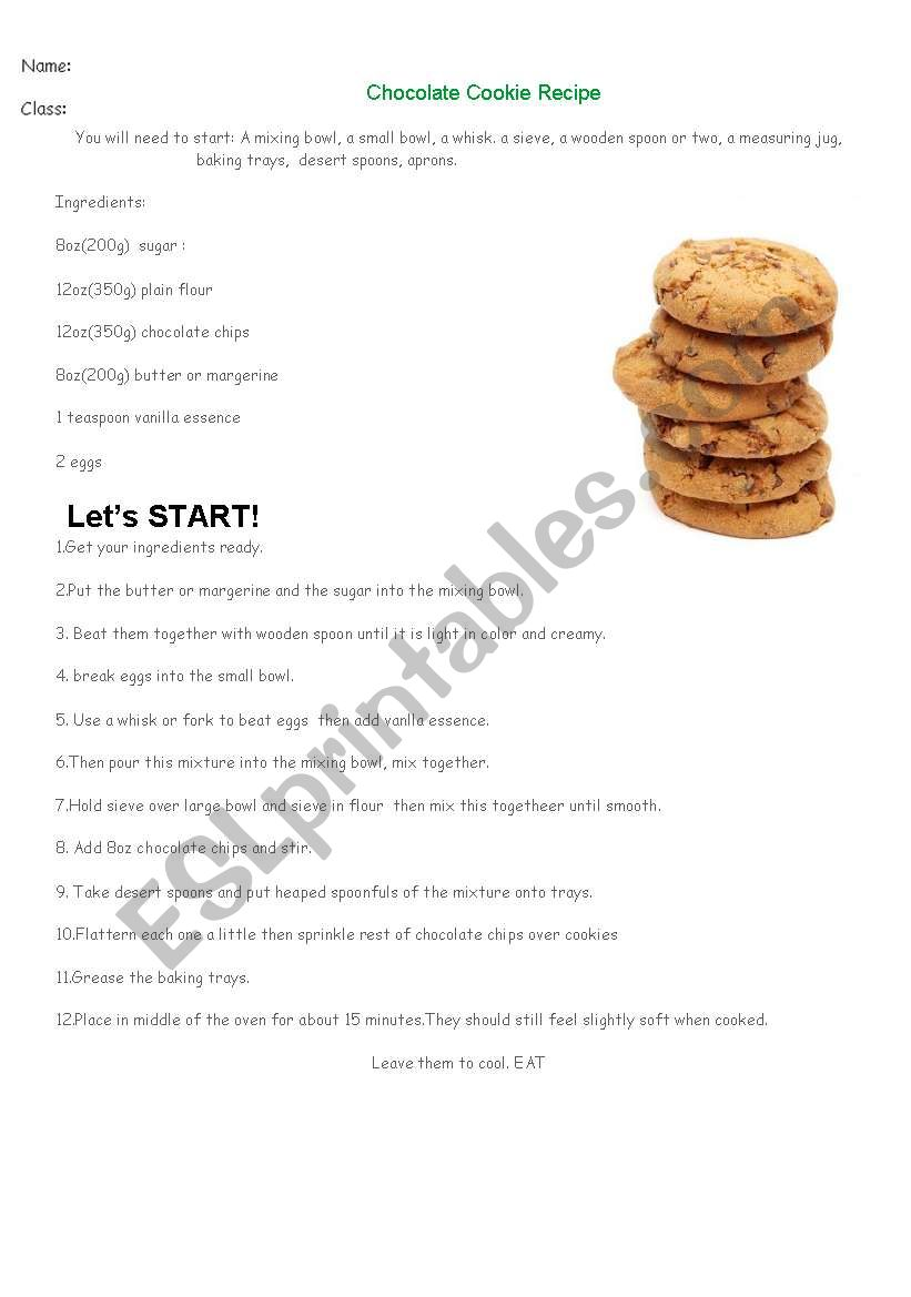 Worksheet Parts Of A Recipe : Cookie recipe for quantifiers esl worksheet by mugeb
