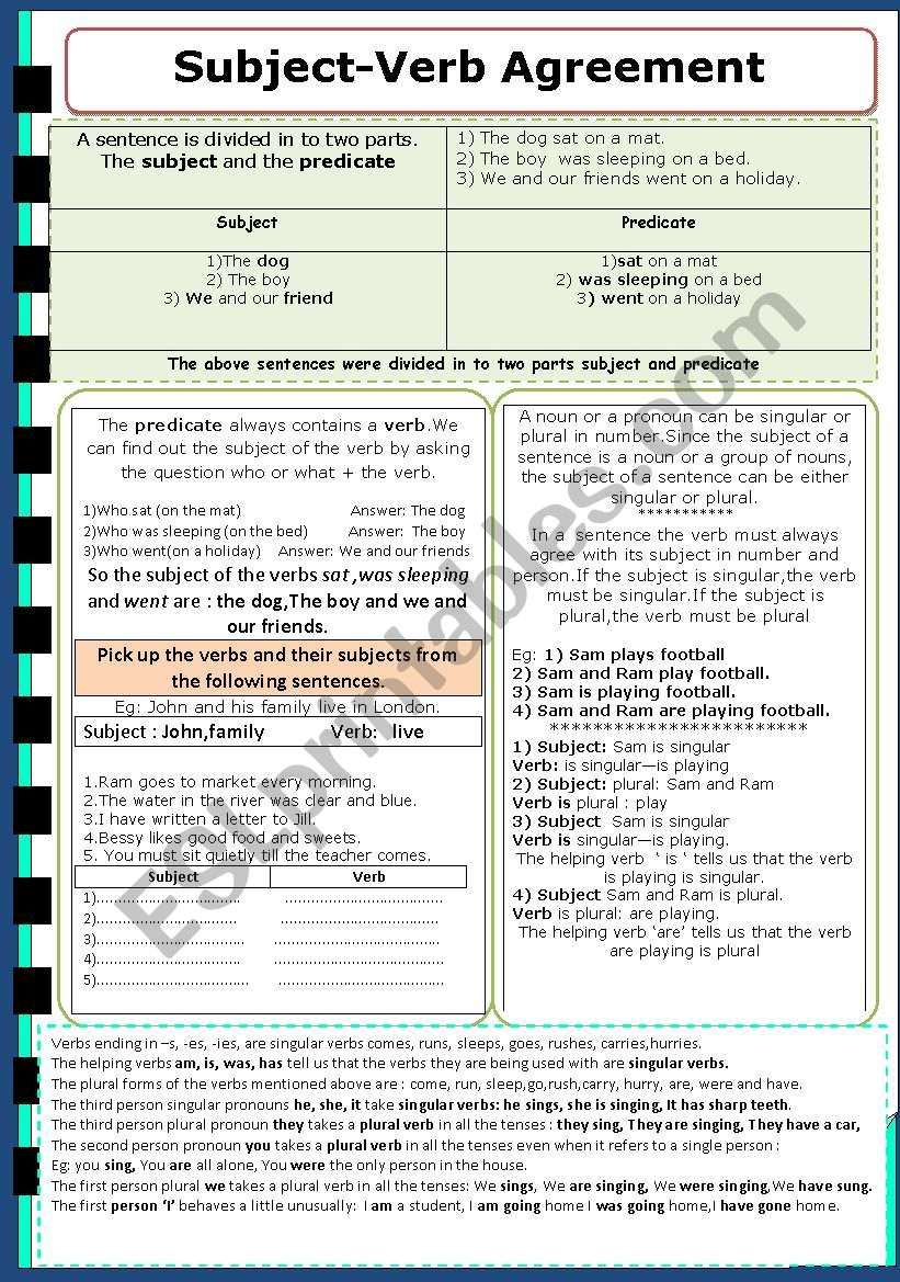 English Worksheets Subject Verb Agreement