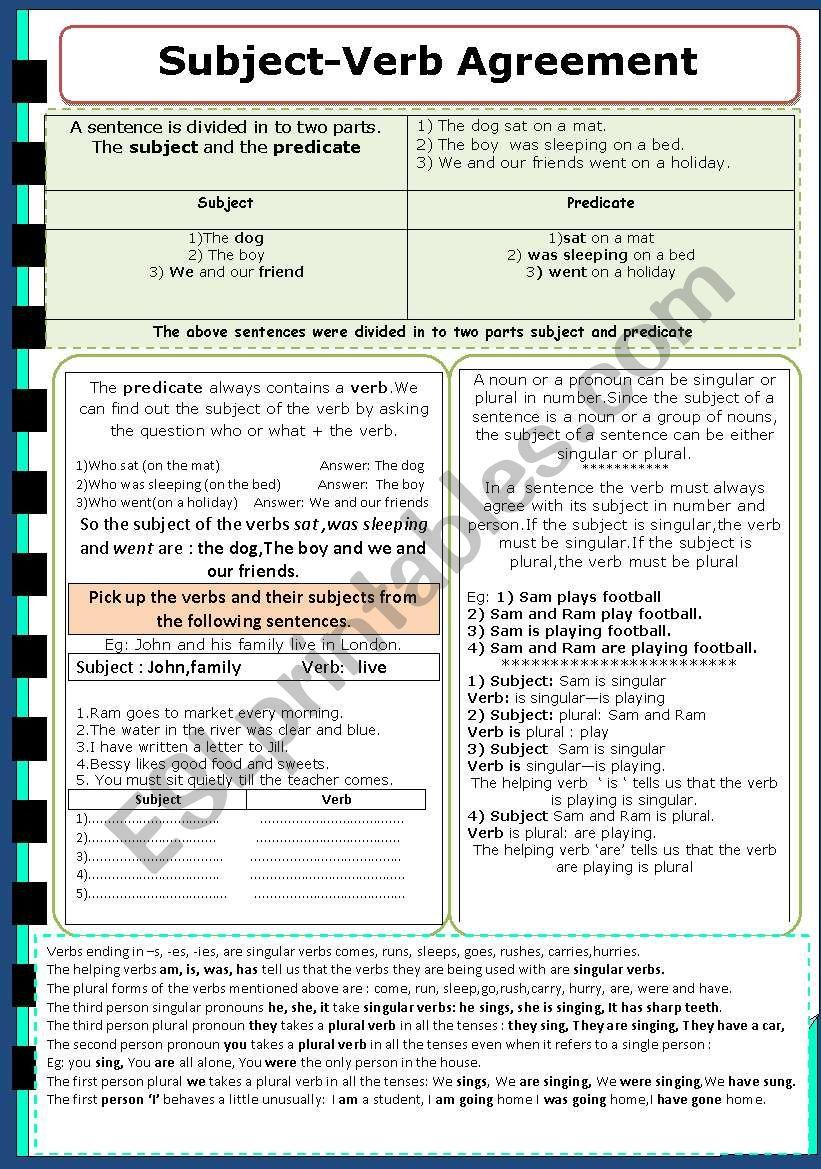 Subject - Verb Agreement worksheet