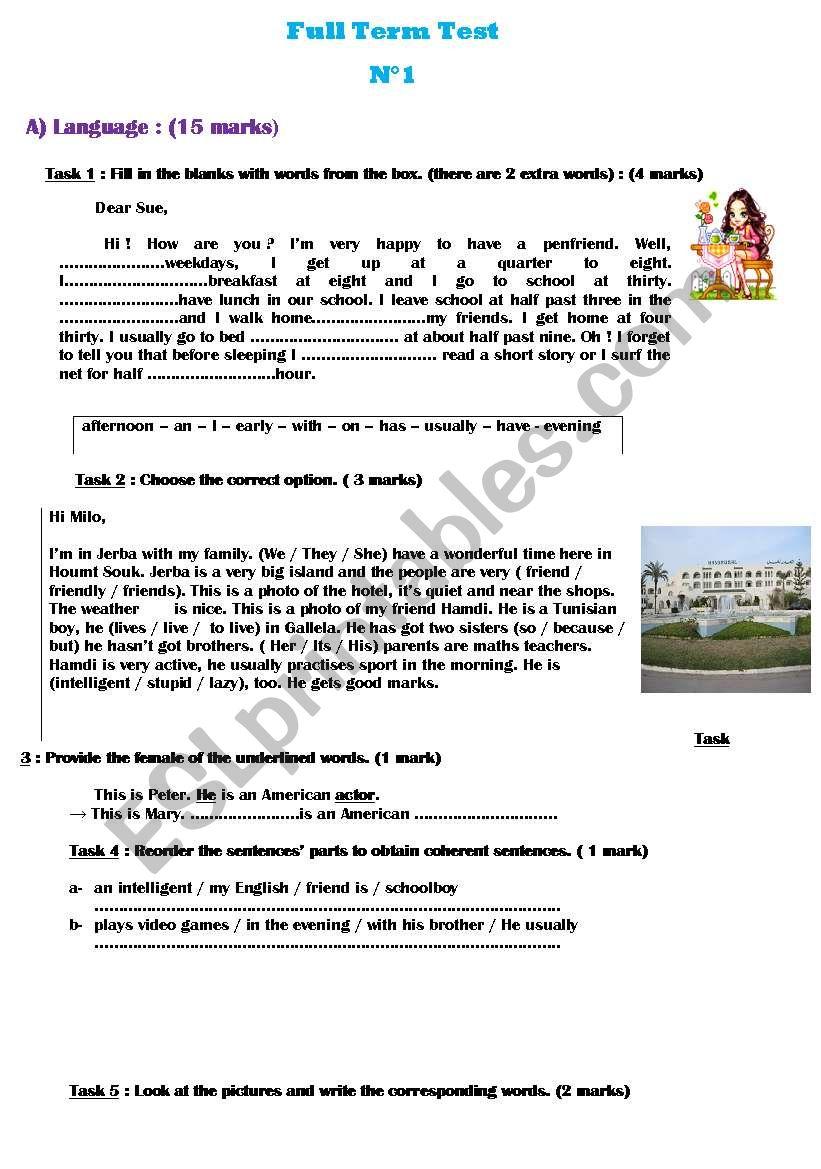 Full term test n° 1( 7th form)