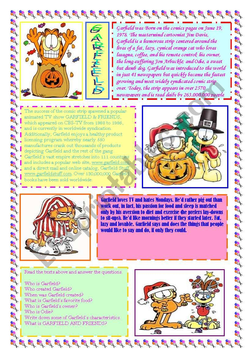 Garfield The Movie Esl Worksheet By Ivana Mcz
