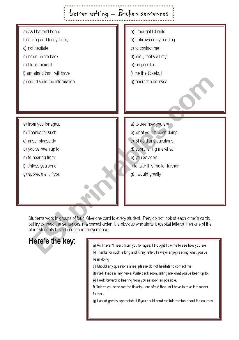 Broken Sentences - Writing letters - ESL worksheet by Betti :)