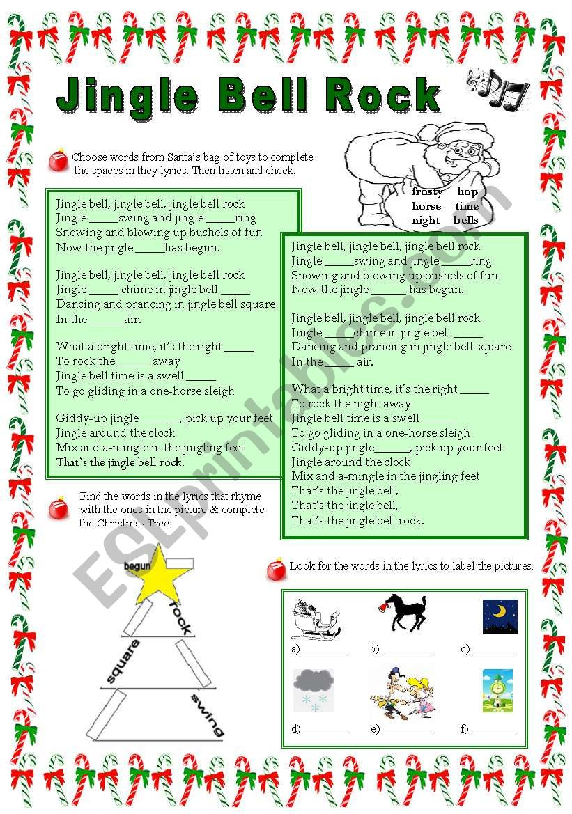 jingle bell rock song worksheet