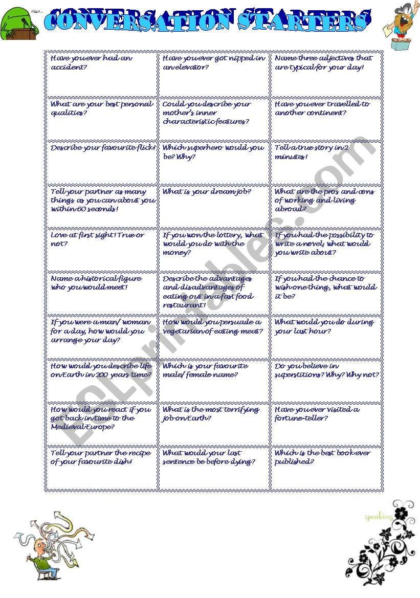 Conversation starters worksheet