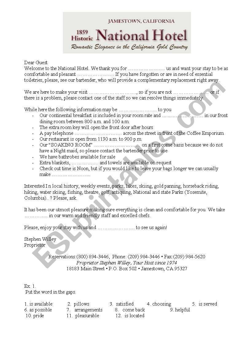 Hotel welcome letter worksheet