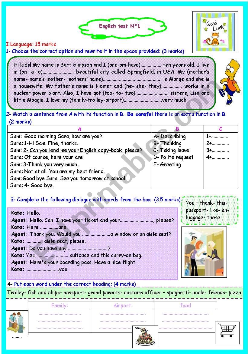 7th form full term test n 1 worksheet