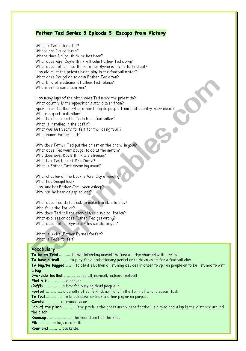 English worksheets: Father Ted series three Lesson Sheets