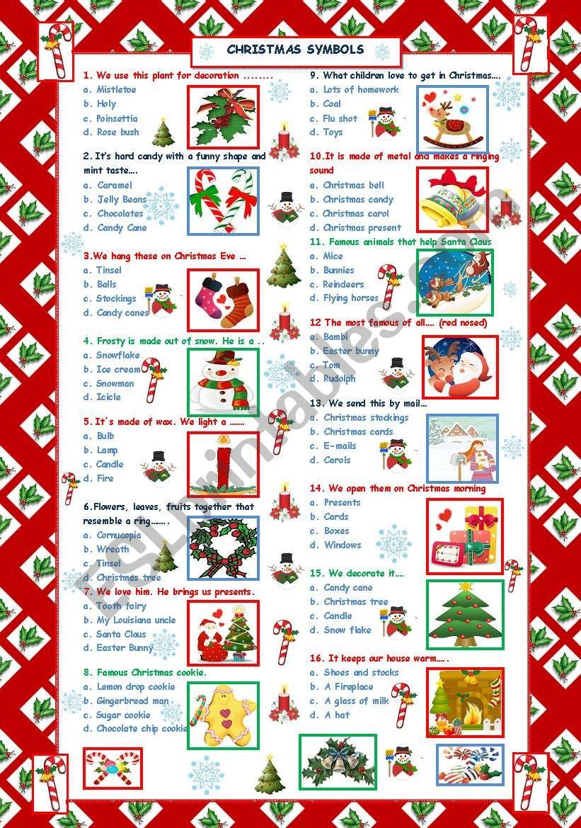 Christmas words Quiz worksheet