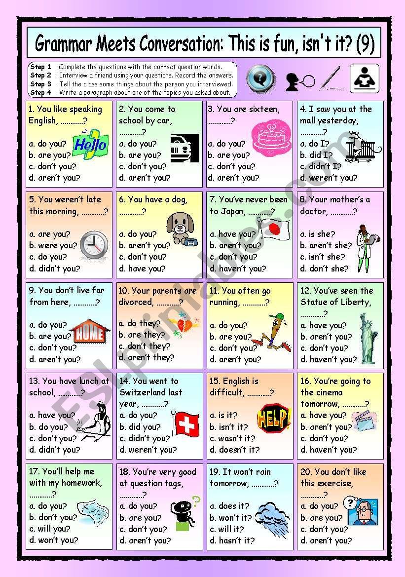 english worksheets  grammar meets conversation  questions