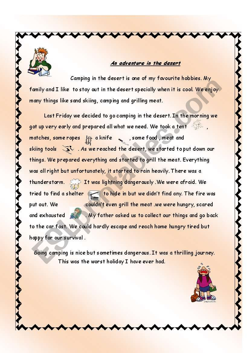 An adventure story worksheet