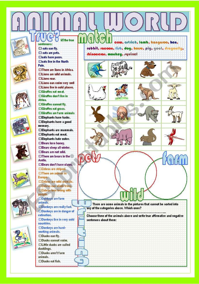 animal world esl worksheet by nuria08. Black Bedroom Furniture Sets. Home Design Ideas