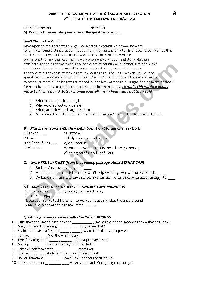 2nd term 1st written exam for 10th grade - ESL worksheet by