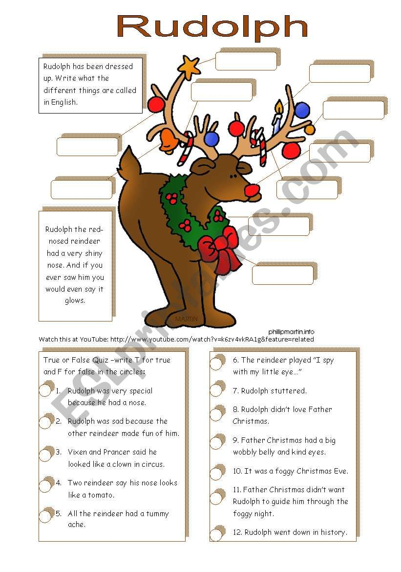 Rudolph (A Christmas ws to be used with YouTube)