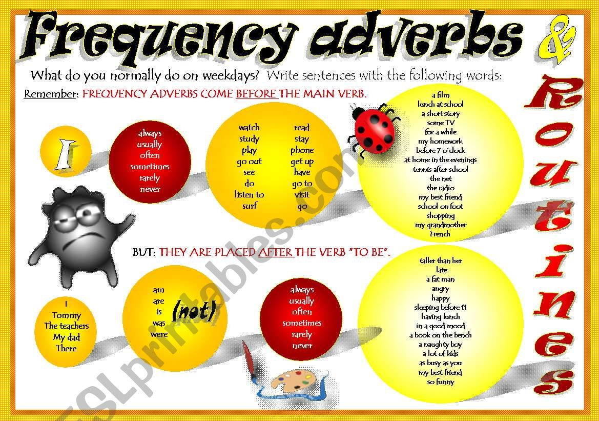 FREQUENCY ADVERBS + ROUTINES worksheet