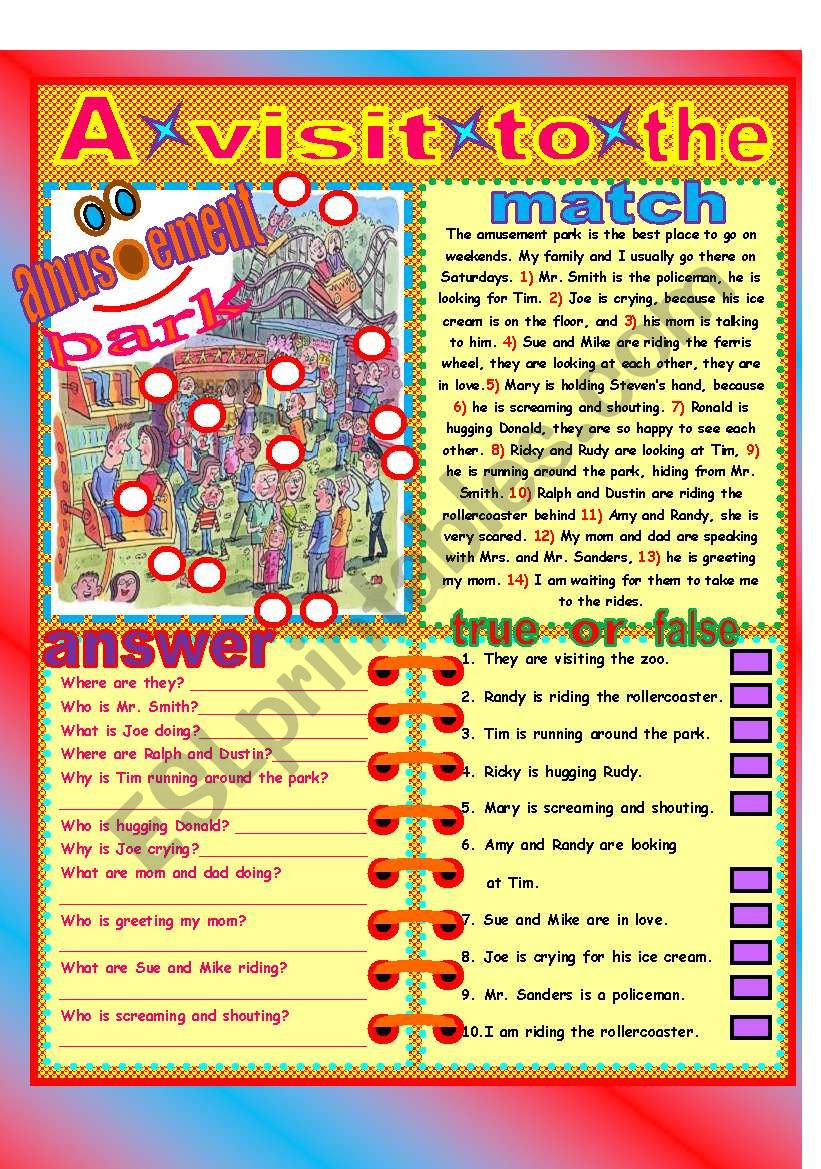 A visit to the park! worksheet
