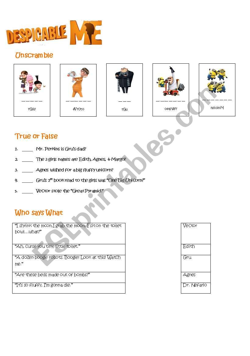 Despicable Me Worksheet worksheet