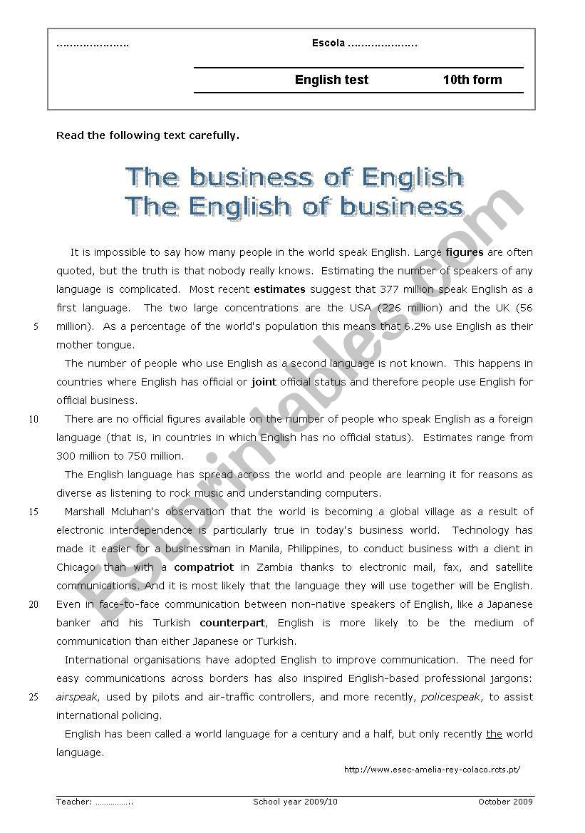 The business of English / The English of business