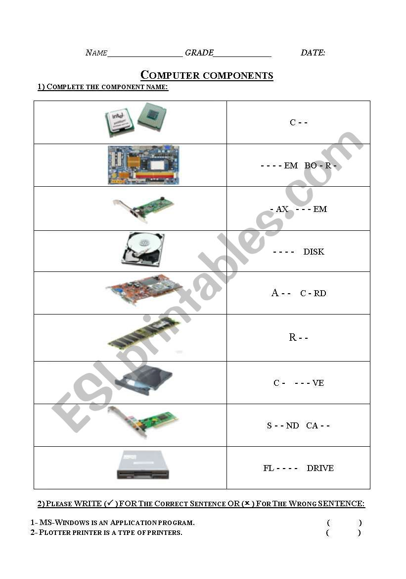 English Worksheets Computer Components