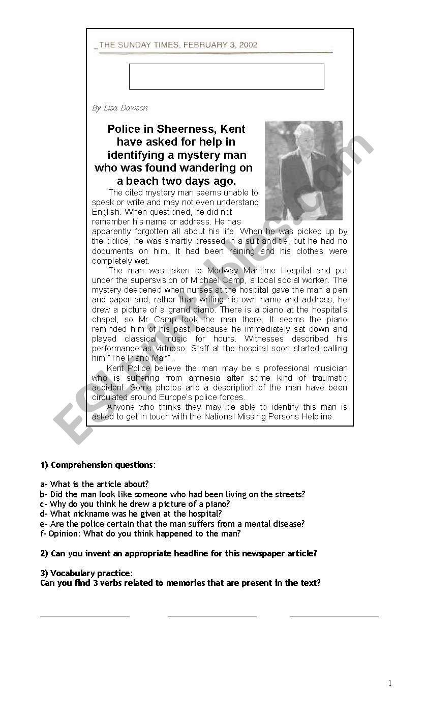 Losing your memory worksheet