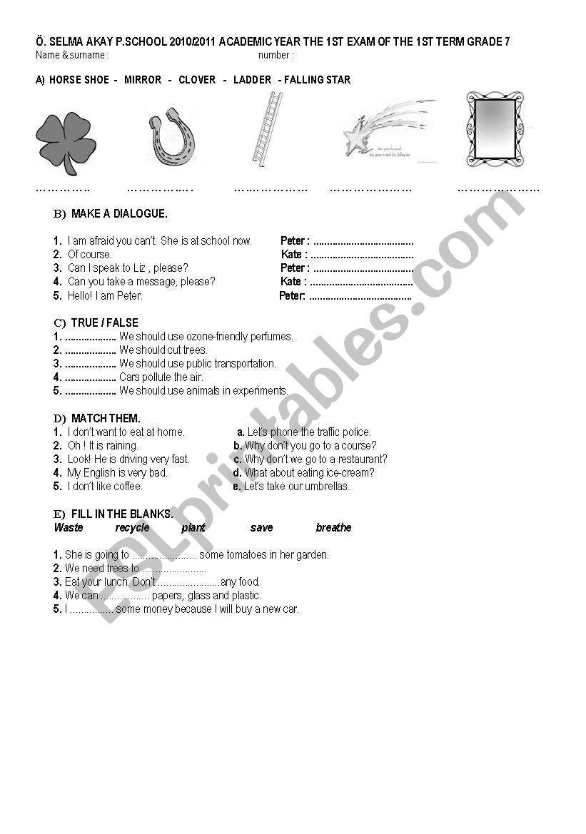 exam paper worksheet