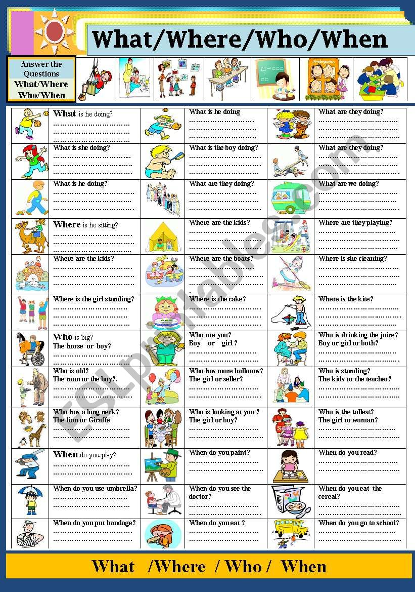 What/ Where/ Who/ When worksheet