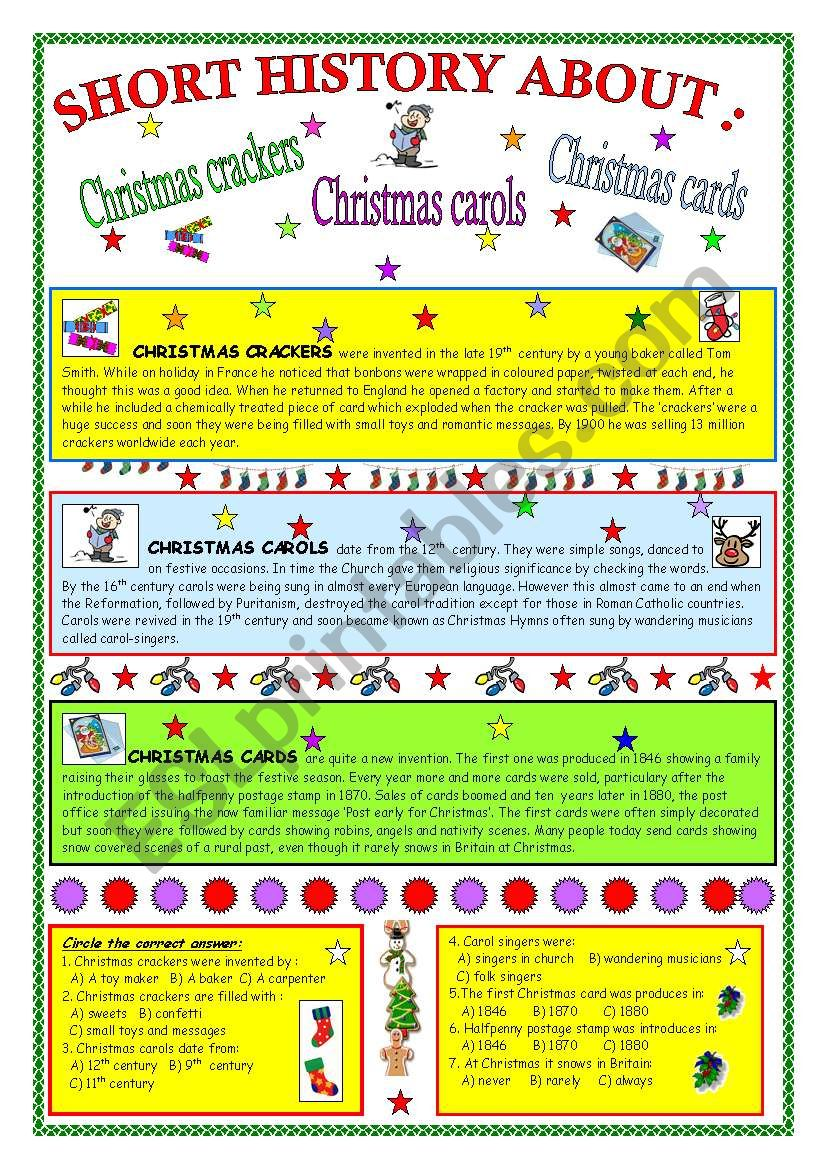SHORT HISTOYR ABOUT: Christmas crackers,carols and cards (fully editable & key)
