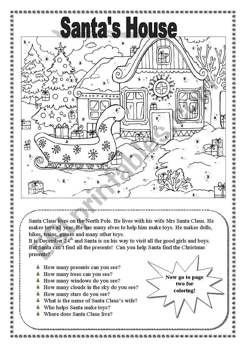 Santa´s House worksheet