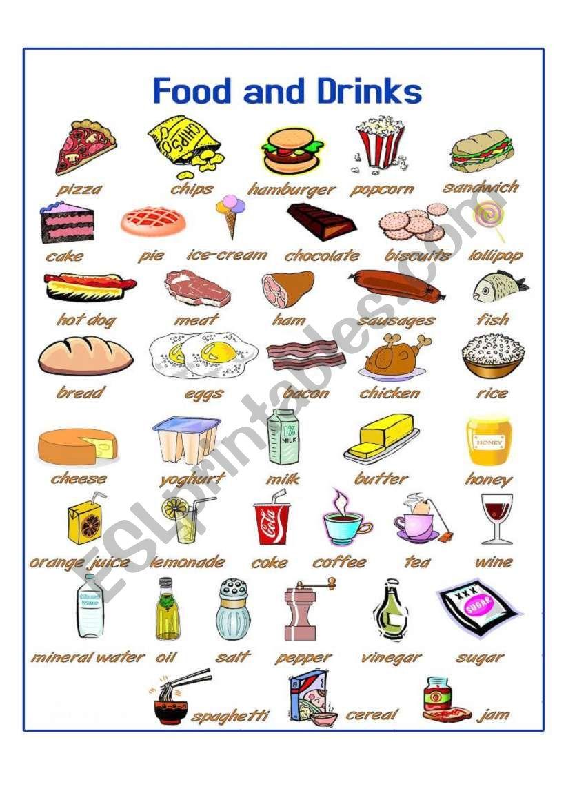 food drinks pictionary worksheet vocabulary worksheets eslprintables esl preview