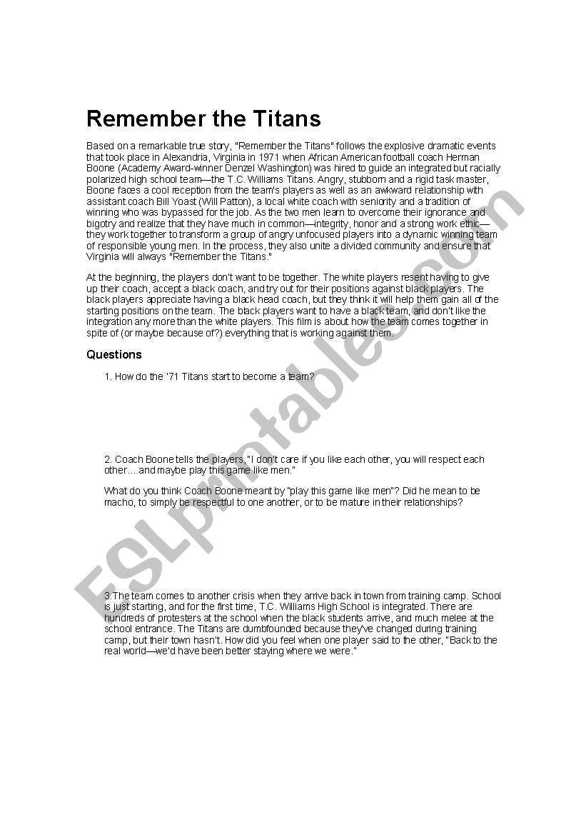 Remember The Titans Esl Worksheet By Vec123