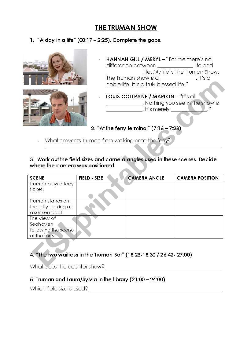 the truman show movie esl worksheet by ella84