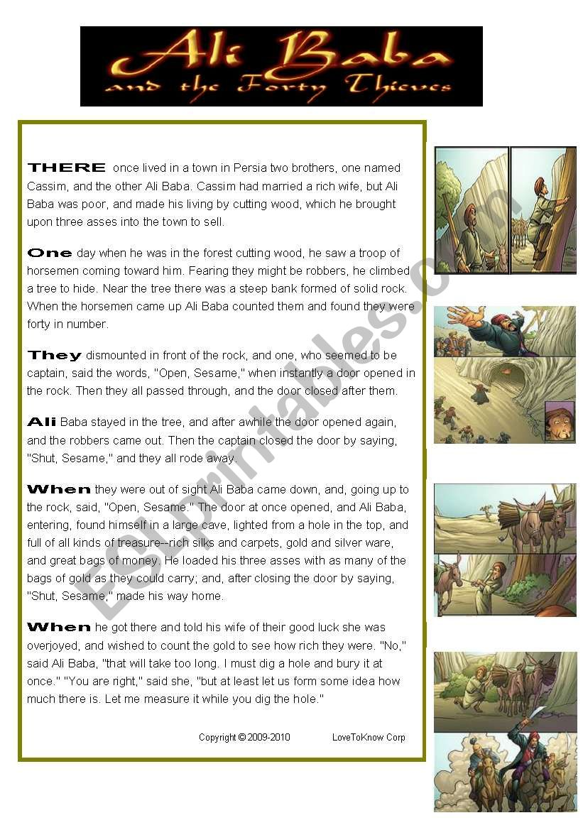 Reading: Ali Baba and the 40 thieves (fairy tale)