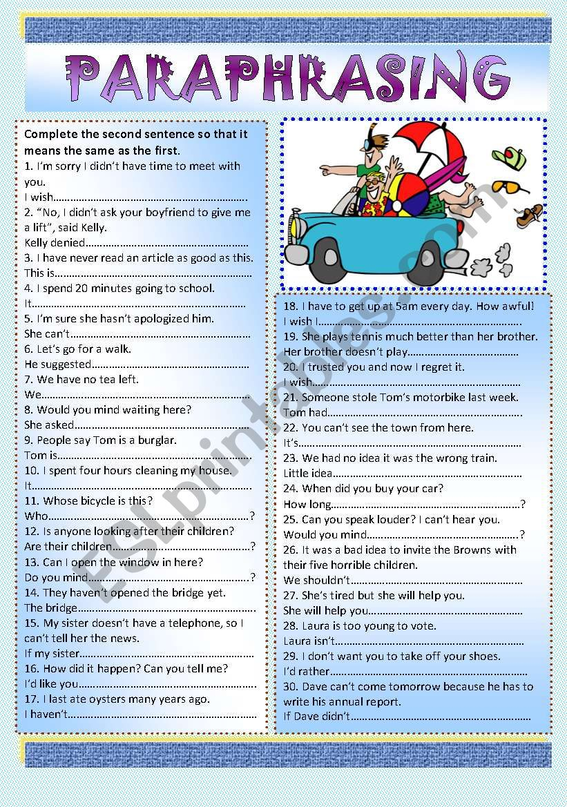Paraphrasing + KEY worksheet