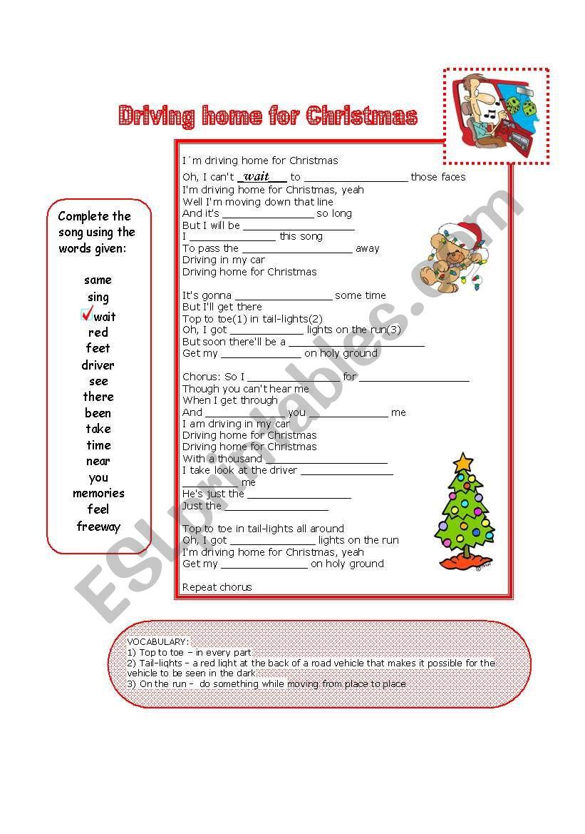 Driving Home for Christmas - a song - ESL worksheet by Carmenlpk