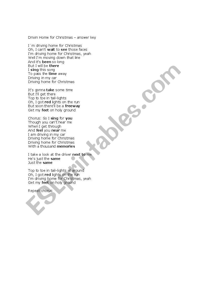 Driving Home for Christmas - a song - ESL worksheet by Carmenlpk