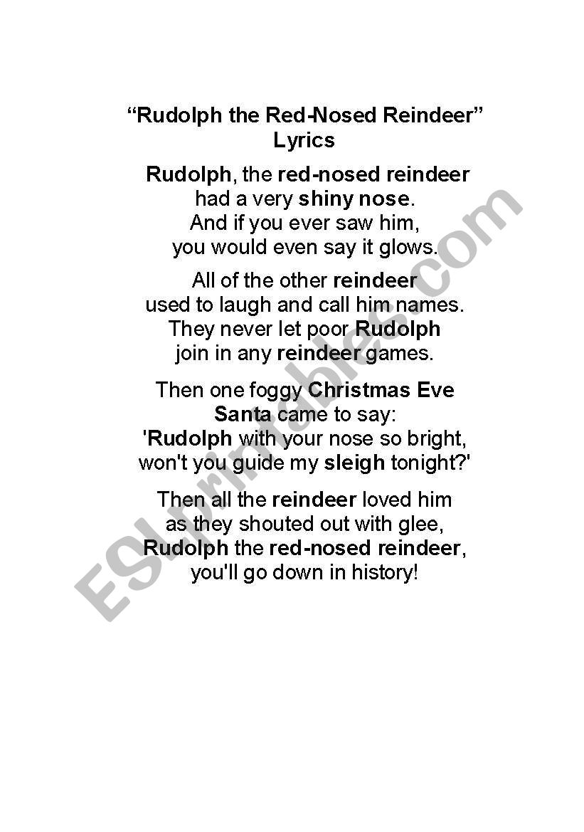 photo about Rudolph the Red Nosed Reindeer Lyrics Printable named English worksheets: Rudolph the Purple-Nosed Reindeer