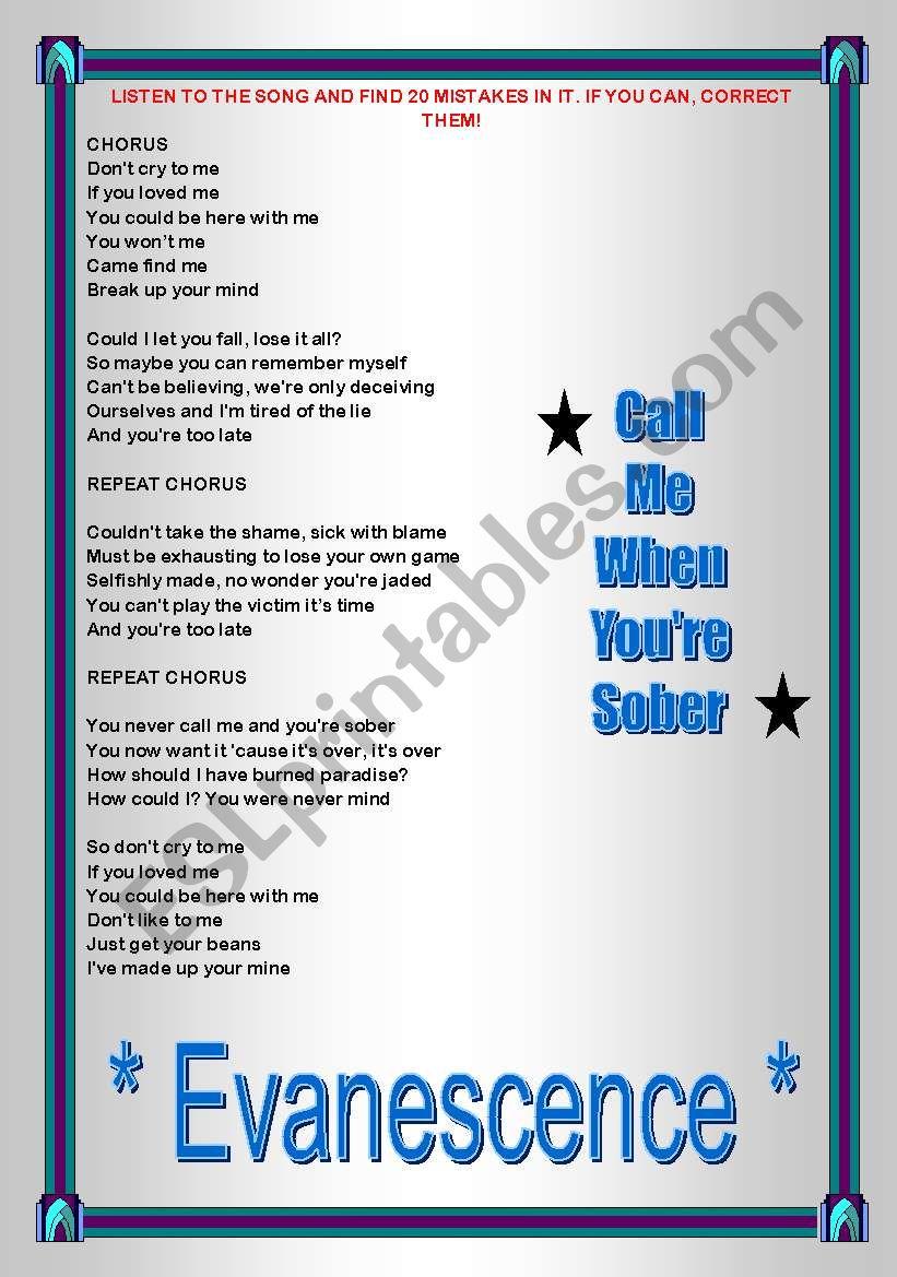 Song activity - Evanescence - Call me when you´re sober