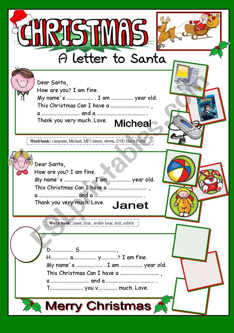 A letter to santa esl worksheet by jazuna a letter to santa worksheet spiritdancerdesigns Image collections