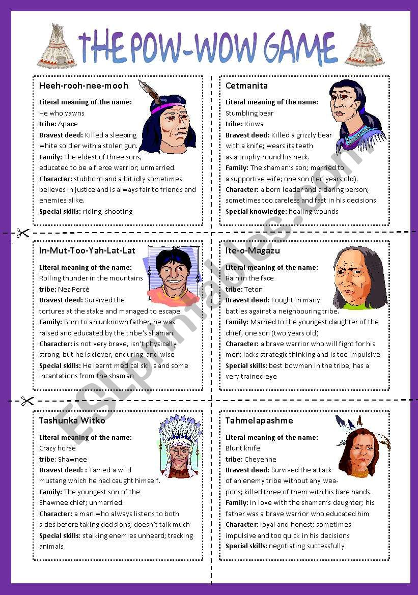 The Pow wow game worksheet